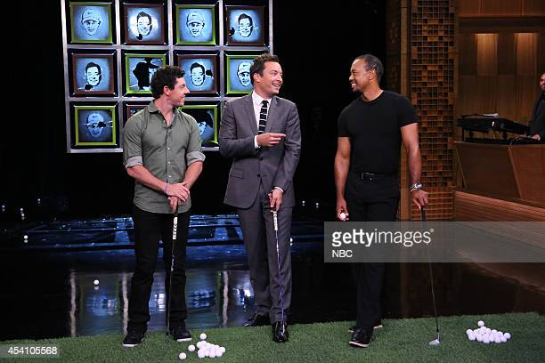Golfer Rory McIlroy host Jimmy Fallon and golfer Tiger Woods during the Facebreakers skit on August 18 2014