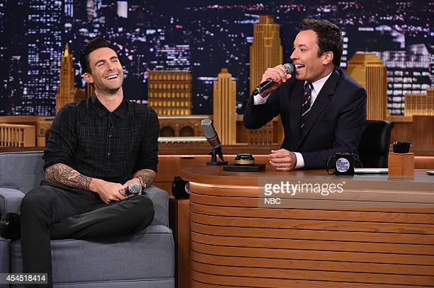 Musician Adam Levine during an interview with host Jimmy Fallon on September 2 2014