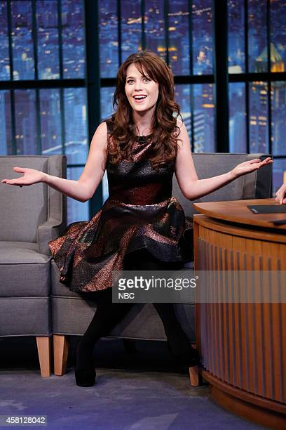 Actress Zooey Deschanel during an interview on October 30 2014