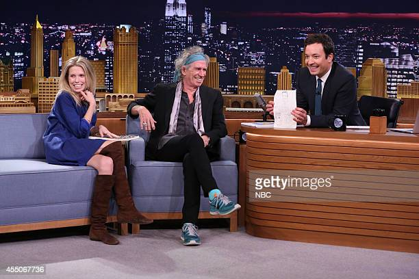 Model Theodora Richards and musician Keith Richards during an interview with host Jimmy Fallon on September 9 2014