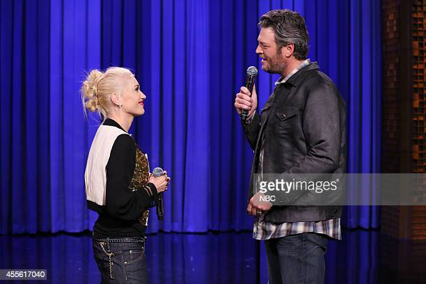 Singer Gwen Stefani and singer Blake Shelton during a lip synch battle on September 17 2014