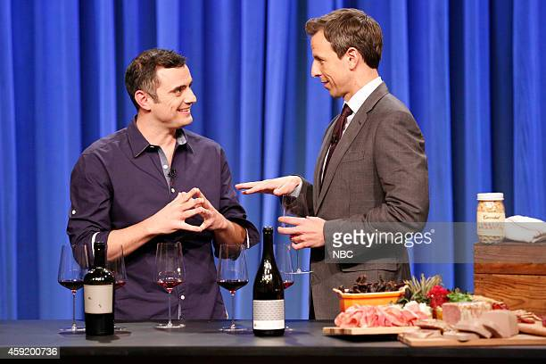 Gary Vaynerchuk and host Seth Meyers during a wine tasting segment on November 18 2014