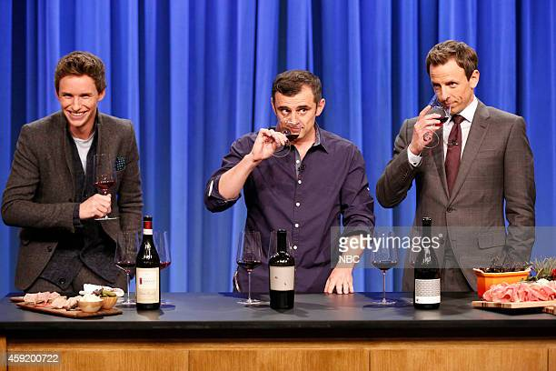Gary Vaynerchuk with Eddie Redmayne and host Sethe Meyers during a wine tasting segment on November 18 2014