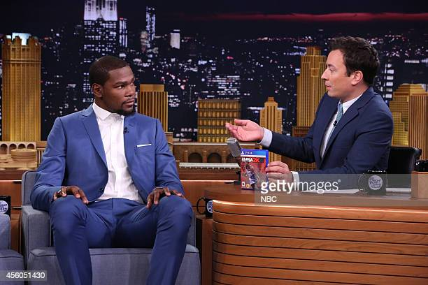 Episode 0131 -- Pictured: Professional basketball player Kevin Durant during an interview with host Jimmy Fallon on September 24, 2014 --