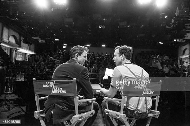 MEYERS Episode 0133 Pictured Host Seth Meyers and actor Jason Sudeikis during a commercial break on November 20 2014