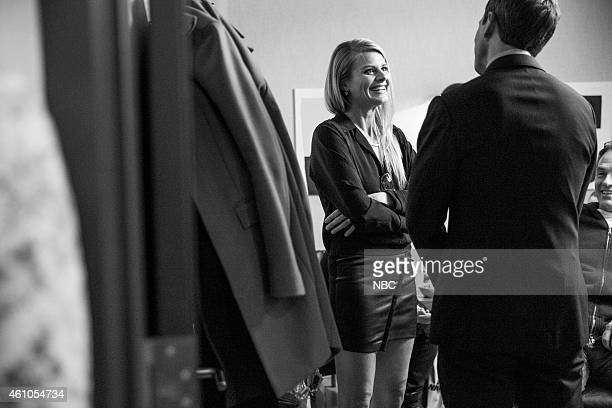 MEYERS Episode 0136 Pictured Actress Eliza Coupe talks with host Seth Meyers backstage on December 8 2014