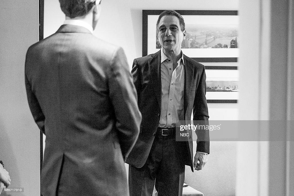 MEYERS -- (EXCLUSIVE COVERAGE) -- Episode 0148 -- Pictured: (l-r) Host Seth Meyers talks with actor Tony Danza backstage on January 12, 2015 --