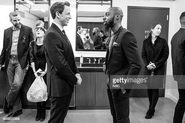 MEYERS Episode 0150 Pictured Host Seth Meyers talks with Kortney Jamaal Pollard of Mali Music backstage on January 14 2015