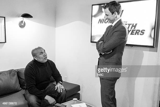 MEYERS Episode 0155 Pictured NBC sports analyst Hines Ward talks with host Seth Meyers backstage on January 22 2015