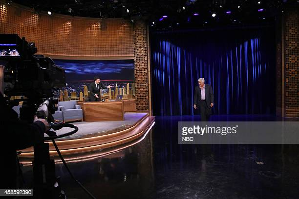 Host Jimmy Fallon welcomes comedian and former Tonight Show host Jay Leno on November 7 2014