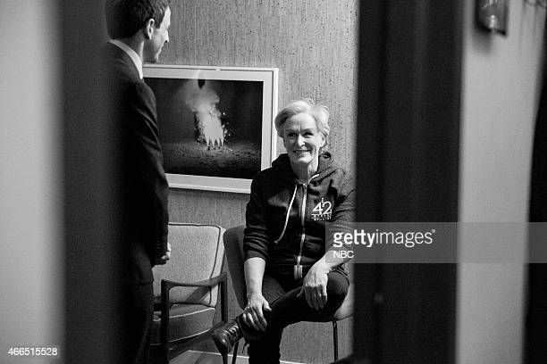 MEYERS Episode 0158 Pictured Host Seth Meyers talks with actress Glenn Close backstage on February 4 2015
