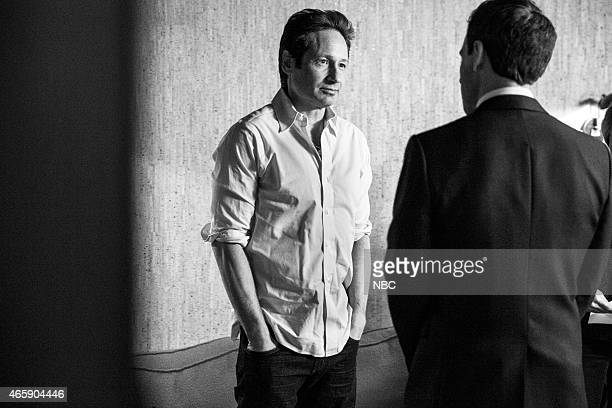 MEYERS Episode 0159 Pictured Actor David Duchovny talks with host Seth Meyers on February 5 2015