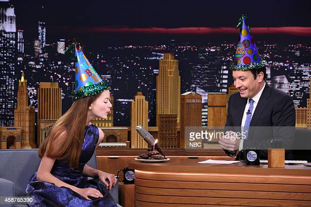 Actress Mackenzie Foy during an interview with host Jimmy Fallon on November 10 2014