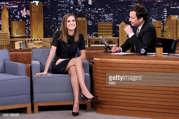 Episode 0164 -- Pictured: Actress Allison Williams during an interview with host Jimmy Fallon on November 17, 2014 --