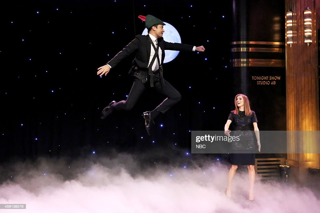 Host Jimmy Fallon is taught how to fly by actress Allison Williams on November 17, 2014 --