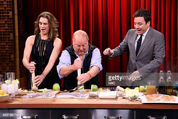 Actress Brooke Shields chef Mario Batali and host Jimmy Fallon during a cooking demonstration on November 18 2014