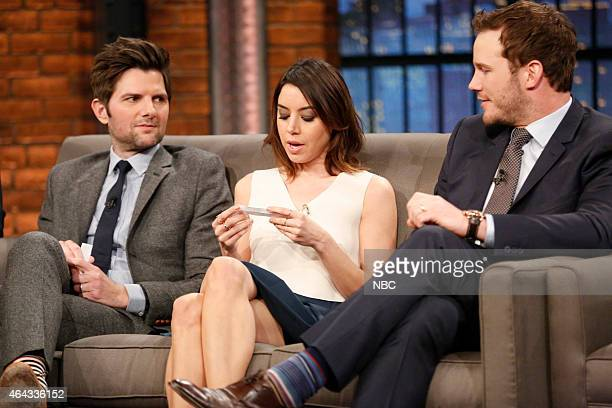 Adam Scott Aubrey Plaza and Chris Pratt of 'Parks and Recreation' during an interview on February 24 2015