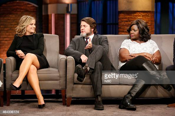 amy poehler nick offerman retta of parks and recreation during an news photo getty images. Black Bedroom Furniture Sets. Home Design Ideas