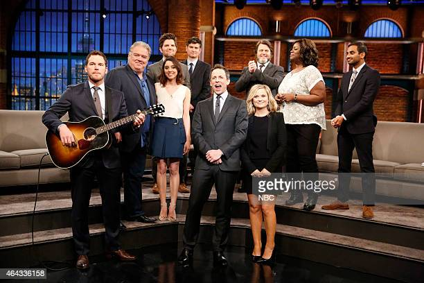 Host Seth Meyers with Chris Pratt Jim O'Heir Aubrey Plaza Adam Scott Michael Schur Amy Poehler Nick Offerman Retta and Aziz Ansari of Parks and...