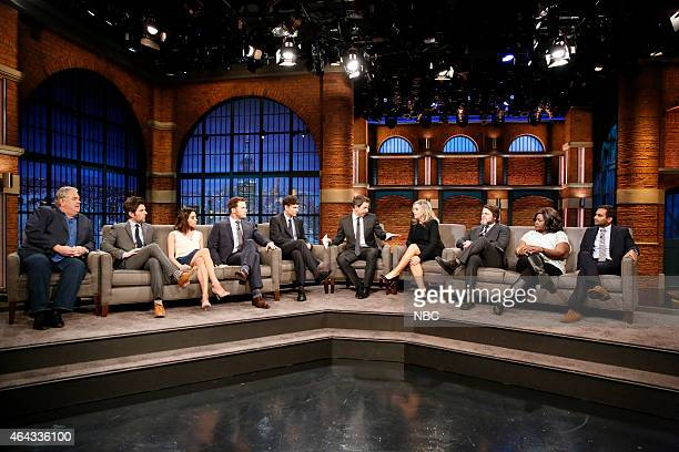 Host Seth Meyers with Jim O'Heir Adam Scott Aubrey Plaza Chris Pratt executive producer Michael Schur Amy Poehler Nick Offerman Retta Aziz Ansari of...