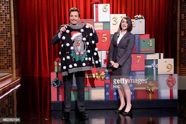 Host Jimmy Fallon during the '12 Days of Christmas Sweaters' skit on December 10 2014
