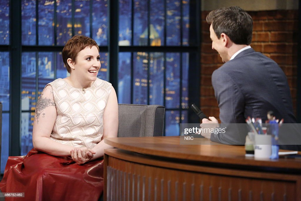 Actress Lena Dunham during an interview with host Seth Meyers on March 18, 2015 --
