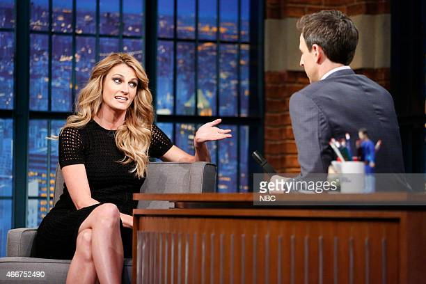 Episode 0178 -- Pictured: Erin Andrews during an interview with host Seth Meyers on March 18, 2015 --