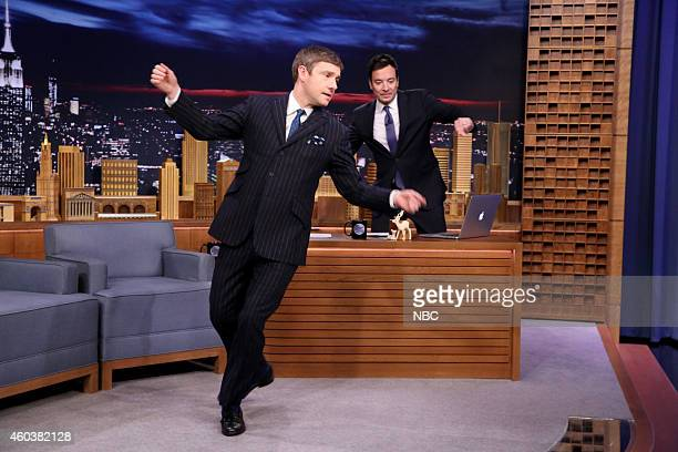 Actor Martin Freeman dances with host Jimmy Fallon on December 12 2014