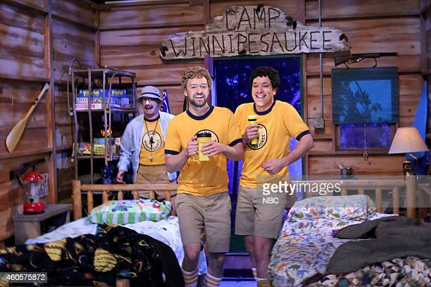 AD Miles Justin Timberlake and host Jimmy Fallon during the 'Camp Winnipesaukee' skit on December 16 2014