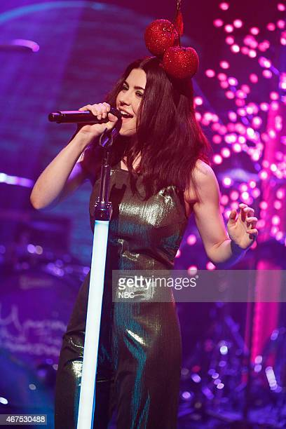 Marina Lambrini Diamandis of musical guest Marina and the Diamonds performs on March 25 2015