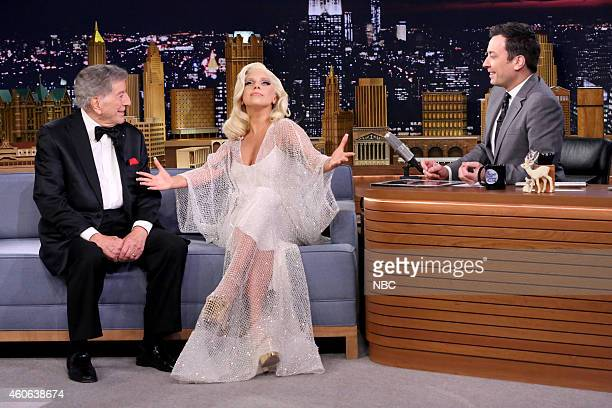 Episode 0182 -- Pictured: Singers Tony Bennett and Lady Gaga during an interview with host Jimmy Fallon on December 17, 2014 --