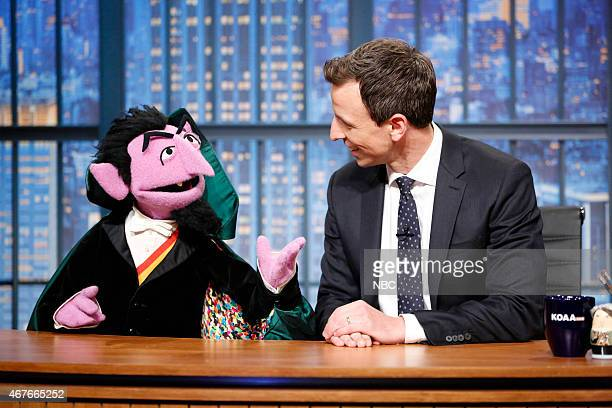 """Episode 0183 -- Pictured: Sesame Street's The Count with host Seth Meyers during the """"This Week In Numbers"""" skit on March 26, 2015 --"""