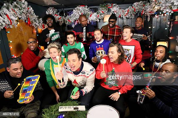 Host Jimmy Fallon and The Roots sing Santa Claus is Coming to Town with One Direction members Niall Horan Zayn Malik Liam Payne Harry Styles and...