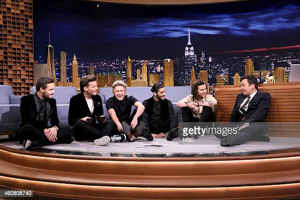 One Direction members Liam Payne Louis Tomlinson Niall Horan Zayn Malik and Harry Styles during an interview with host Jimmy Fallon on December 23...