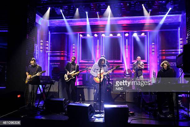 Anthony LaMarca David Hartley Adam Granduciel Charlie Hall Jon Natchez and Robbie Bennett of musical guest The War on Drugs perform on January 6 2015