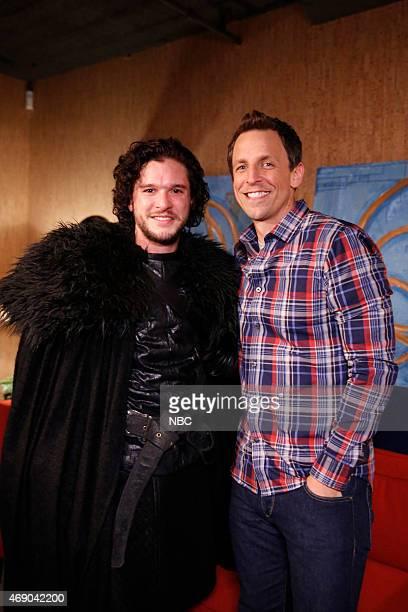 Kit Harrington as Jon Snow and host Seth Meyers during the 'Game of Thrones' skiton April 2 2015