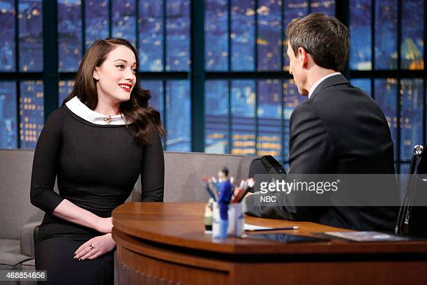 Actress Kat Dennings during an interview with host Seth Meyers on April 7 2015