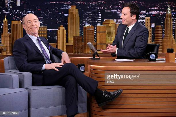 Actor JK Simmons during an interview with host Jimmy Fallon on January 8 2015
