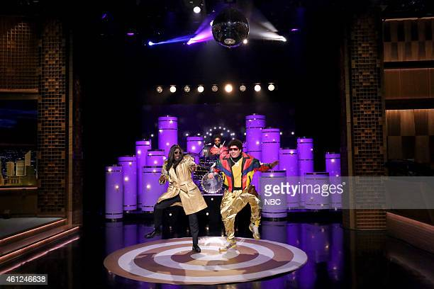 Actor Don Cheadle Ahmir Questlove Thompson and host Jimmy Fallon during the Pleather and Jerry skit on January 9 2015