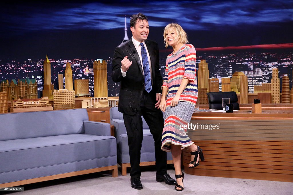 2debdc6bda6 Host Jimmy Fallon and actress Sienna Miller throw water on each ...