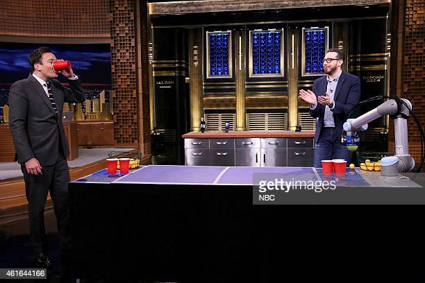 Journalist Joshua Topolsky and host Jimmy Fallon examine the newest tech from CES on January 16 2015