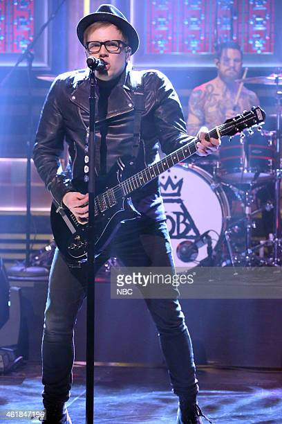 Patrick Stump of musical guest Fall Out Boy performs on January 20 2015