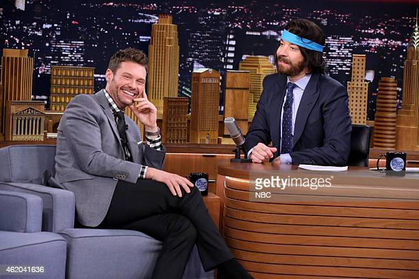 Radio Personality Ryan Seacrest during an interview with host Jimmy Fallon on January 23 2015
