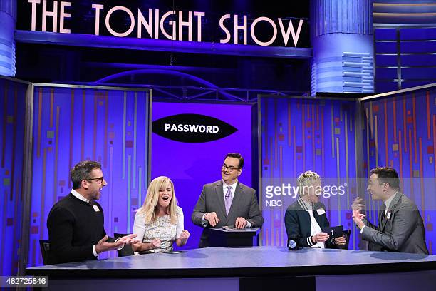 Actor Steve Carell actress Reese Witherspoon announcer Steve Higgins television personality Ellen DeGeneres and host Jimmy Fallon play Password on...