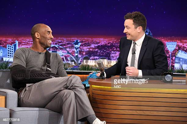 Basketball player Kobe Bryant during an interview with host Jimmy Fallon on February 4 2015