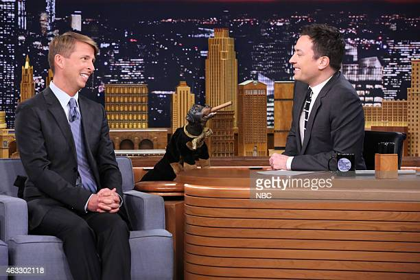 Actor Jack McBrayer and Triumph the Insult Comic Dog during an interview with host Jimmy Fallon on February 12 2015