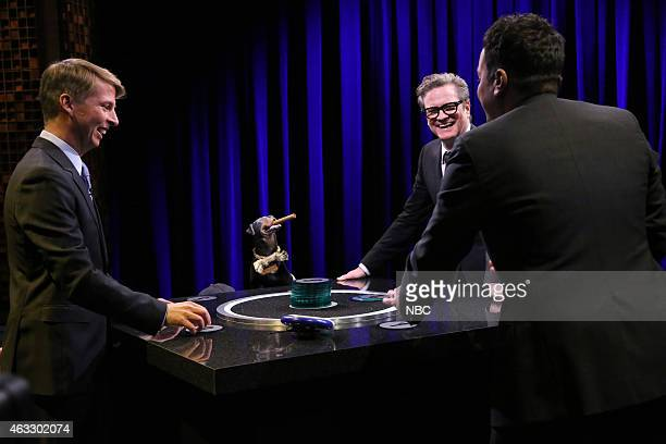 Actor Jack McBrayer Triumph the Insult Comic Dog actor Colin Firth and host Jimmy Fallon play Catchphrase on February 12 2015