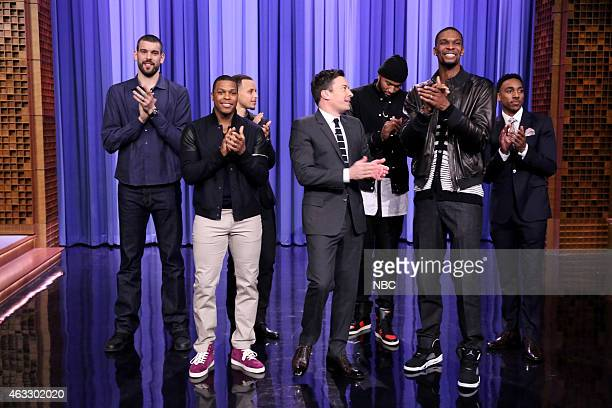 Professional basketball players Mark Gasol from the Memphis Grizzlies Kyle Lowry from the Toronto Raptors Stephen Curry from the Golden State...
