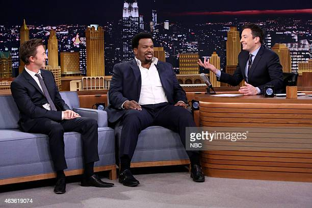 Actor Edward Norton and actor Craig Robinson during an interview with host Jimmy Fallon on February 16 2015