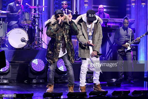 Musical guests Chris Brown and Tyga perform with The Roots on February 16 2015